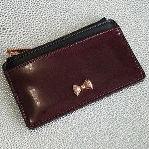 Glitter Patent Leather Coin Purse Deep Purple Red